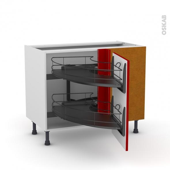 meuble de cuisine angle bas stecia rouge demi lune coulissant ... - Meuble Angle Bas Cuisine