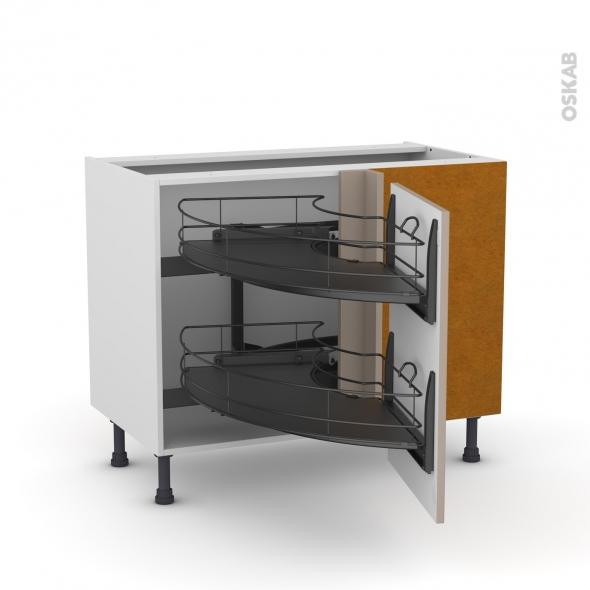 Meuble de cuisine - Angle bas - GINKO Taupe - Demi lune coulissant EPOXY - Tirant droit 1 porte L50 cm - L100 x H70 x P58 cm