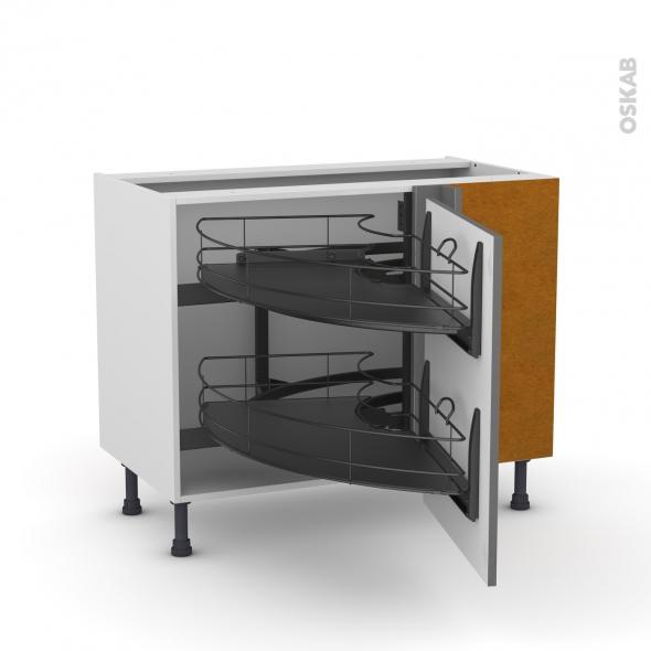 Meuble de cuisine - Angle bas - STECIA Gris - Demi lune coulissant EPOXY - Tirant droit 1 porte L60 cm - L100 x H70 x P58 cm