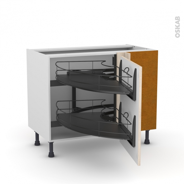 Meuble de cuisine - Angle bas - IKORO Chêne clair - Demi lune coulissant EPOXY - Tirant droit 1 porte L60 cm - L100 x H70 x P58 cm
