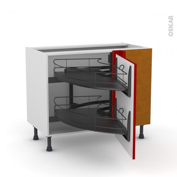 Meuble de cuisine - Angle bas - STECIA Rouge - Demi lune coulissant EPOXY - Tirant droit 1 porte L60 cm - L100 x H70 x P58 cm
