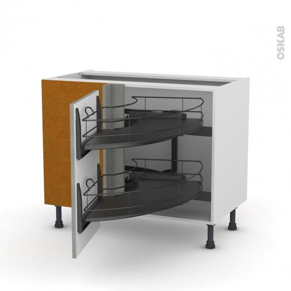 Meuble de cuisine - Angle bas - FAKTO Béton - Demi lune coulissant EPOXY - Tirant gauche 1 porte L50 cm - L100 x H70 x P58 cm