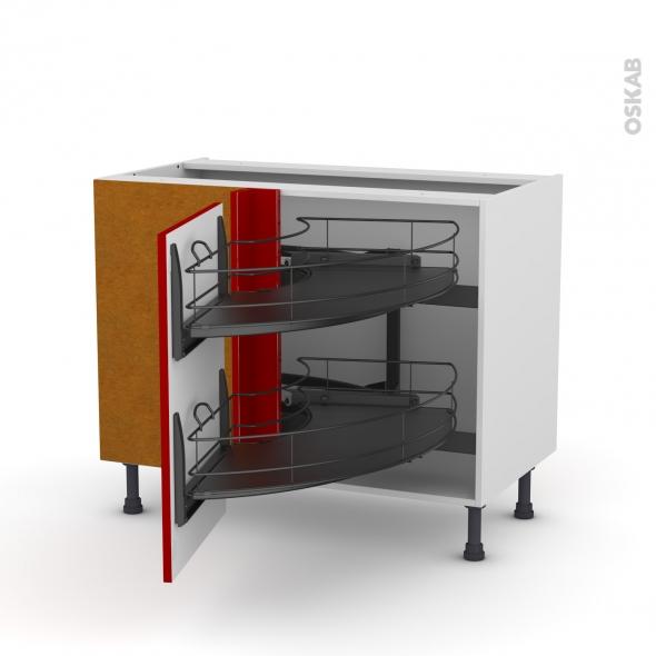 Meuble de cuisine - Angle bas - STECIA Rouge - Demi lune coulissant EPOXY - Tirant gauche 1 porte L50 cm - L100 x H70 x P58 cm