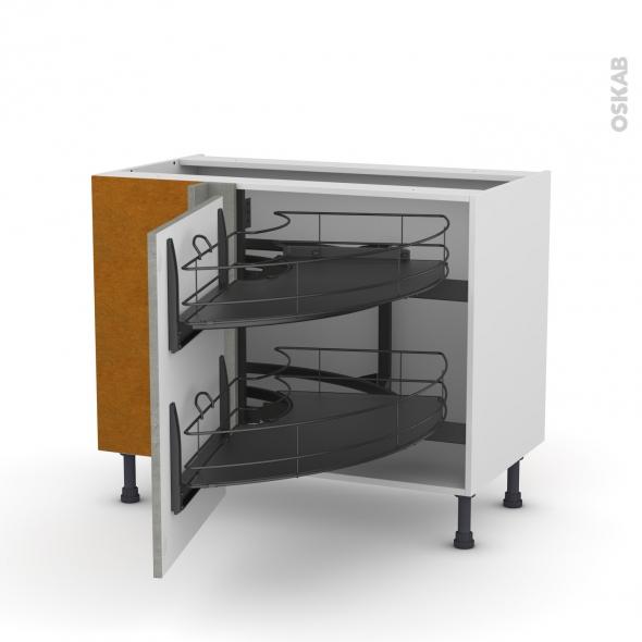 Meuble de cuisine - Angle bas - FAKTO Béton - Demi lune coulissant EPOXY - Tirant gauche 1 porte L60 cm - L100 x H70 x P58 cm