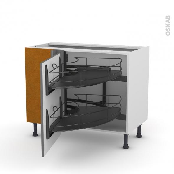 Meuble de cuisine - Angle bas - STECIA Gris - Demi lune coulissant EPOXY - Tirant gauche 1 porte L60 cm - L100 x H70 x P58 cm