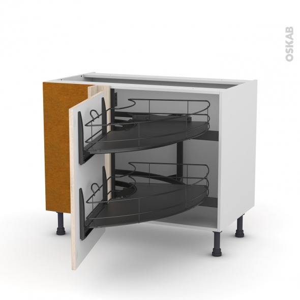 Meuble de cuisine - Angle bas - IKORO Chêne clair - Demi lune coulissant EPOXY - Tirant gauche 1 porte L60 cm - L100 x H70 x P58 cm