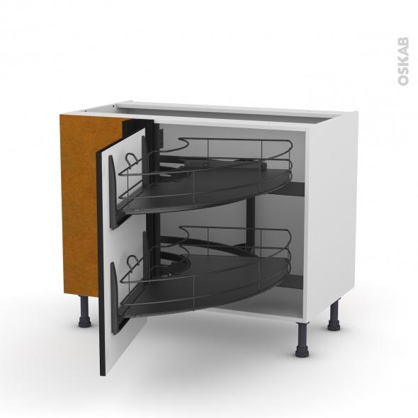 Meuble de cuisine - Angle bas - GINKO Noir - Demi lune coulissant EPOXY - Tirant gauche 1 porte L60 cm - L100 x H70 x P58 cm