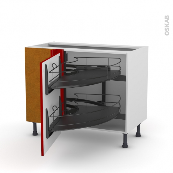 Meuble de cuisine - Angle bas - STECIA Rouge - Demi lune coulissant EPOXY - Tirant gauche 1 porte L60 cm - L100 x H70 x P58 cm