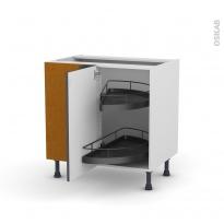 Meuble de cuisine - Angle bas - GINKO Gris - Demi lune EPOXY - 1 porte N°19 L40 cm - L80 x H70 x P58 cm