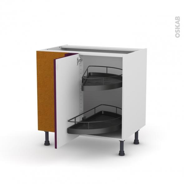 Meuble de cuisine - Angle bas - KERIA Aubergine - Demi lune EPOXY - 1 porte N°19 L40 cm - L80 x H70 x P58 cm