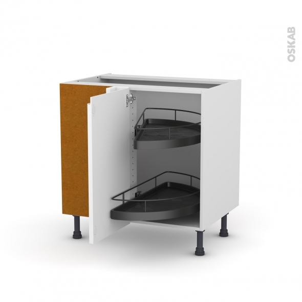 Meuble de cuisine - Angle bas - IPOMA Blanc - Demi lune EPOXY - 1 porte N°19 L40 cm - L80 x H70 x P58 cm