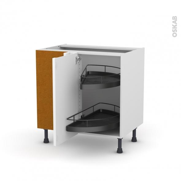 Meuble de cuisine - Angle bas - PIMA Blanc - Demi lune EPOXY - 1 porte N°19 L40 cm - L80 x H70 x P58 cm