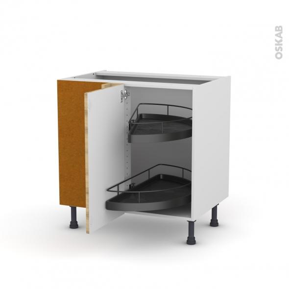Meuble de cuisine - Angle bas - HOSTA Chêne naturel - Demi lune EPOXY - 1 porte N°19 L40 cm - L80 x H70 x P58 cm