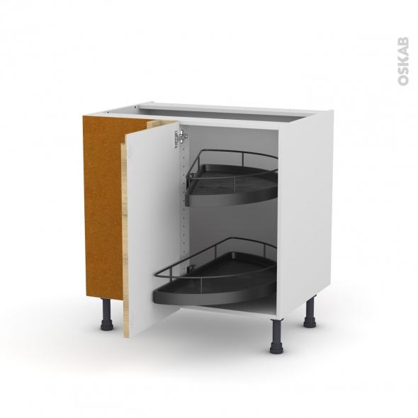 Meuble de cuisine - Angle bas - IPOMA Chêne naturel - Demi lune EPOXY - 1 porte N°19 L40 cm - L80 x H70 x P58 cm