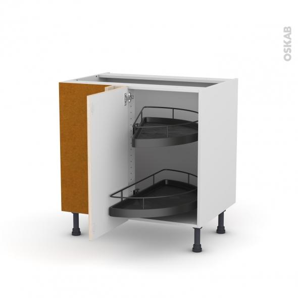 Meuble de cuisine - Angle bas - IKORO Chêne clair - Demi lune EPOXY - 1 porte N°19 L40 cm - L80 x H70 x P58 cm