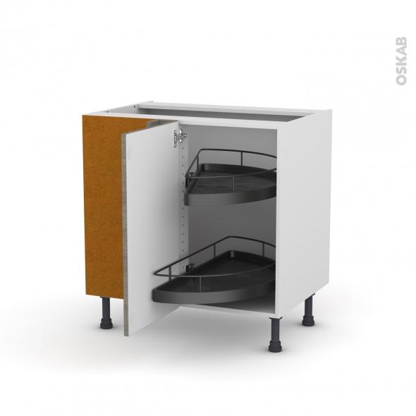 Meuble de cuisine - Angle bas - STILO Noyer Naturel - Demi lune EPOXY - 1 porte N°19 L40 cm - L80 x H70 x P58 cm