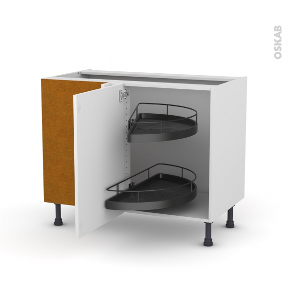 Meuble de cuisine - Angle bas - STECIA Blanc - Demi lune EPOXY - 1 porte N°20 L50 cm - L100 x H70 x P58 cm