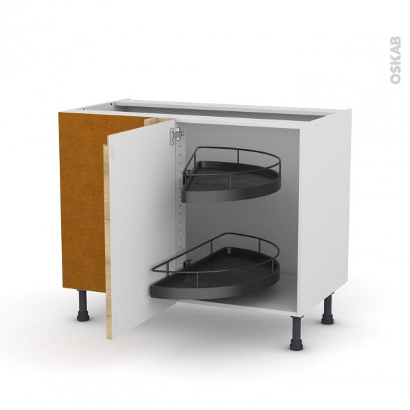 Meuble de cuisine - Angle bas - IPOMA Chêne naturel - Demi lune EPOXY - 1 porte N°20 L50 cm - L100 x H70 x P58 cm