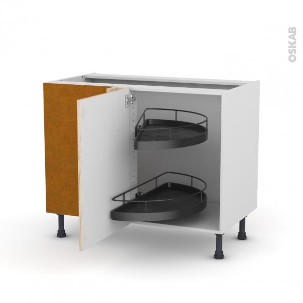 Meuble de cuisine - Angle bas - IKORO Chêne clair - Demi lune EPOXY - 1 porte N°20 L50 cm - L100 x H70 x P58 cm