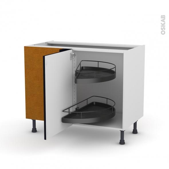 Meuble de cuisine - Angle bas - KERIA Noir - Demi lune EPOXY - 1 porte N°20 L50 cm - L100 x H70 x P58 cm