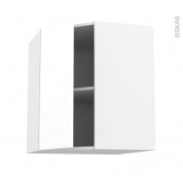 Meuble de cuisine - Angle haut - IRIS Blanc - 1 porte N°19 L40 cm - L65 x H70 x P37 cm