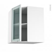 SOKLEO - Meuble angle haut - Façade blanche alu vitrée - 1 porte N°19 L40 - L65xH70xP37