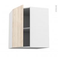 Meuble de cuisine - Angle haut - IKORO Chêne clair - 1 porte N°19 L40 cm - L65 x H70 x P37 cm