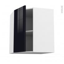 Meuble de cuisine - Angle haut - KERIA Noir - 1 porte N°19 L40 cm - L65 x H70 x P37 cm