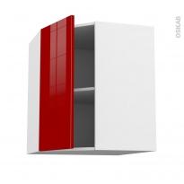 Meuble de cuisine - Angle haut - STECIA Rouge - 1 porte N°19 L40 cm - L65 x H70 x P37 cm