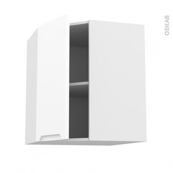 Meuble de cuisine - Angle haut - PIMA Blanc - 1 porte N°19 L40 cm - L65 x H70 x P37 cm