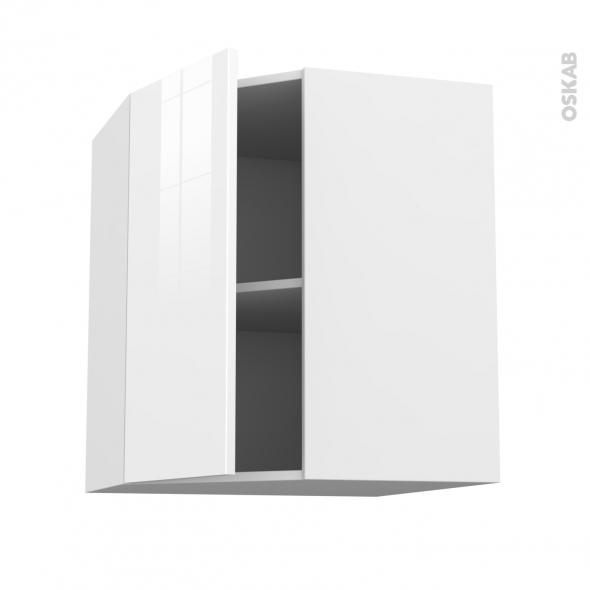 Meuble de cuisine - Angle haut - STECIA Blanc - 1 porte N°19 L40 cm - L65 x H70 x P37 cm
