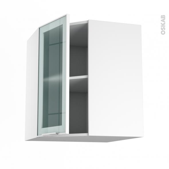 Meuble de cuisine - Angle haut vitré - Façade blanche alu - 1 porte N°19 L40 cm - L65 x H70 x P37 cm - SOKLEO