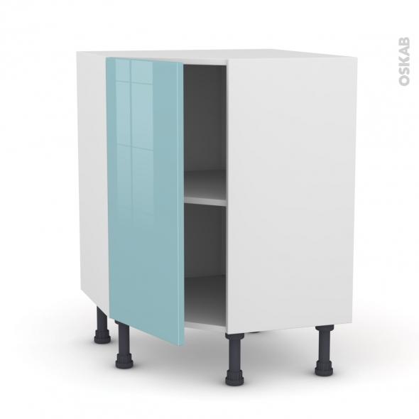 Meuble de cuisine - Angle haut - KERIA Bleu - 1 porte N°19 L40 cm - L65 x H70 x P37 cm