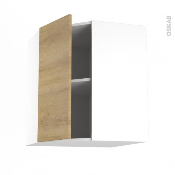 Meuble de cuisine - Angle haut - HOSTA Chêne naturel - 1 porte N°19 L40 cm - L65 x H70 x P37 cm