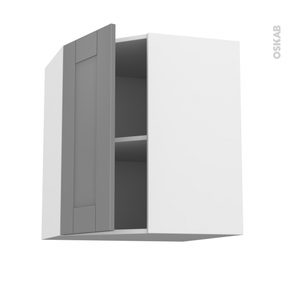 Meuble de cuisine - Angle haut - FILIPEN Gris - 1 porte N°19 L40 cm - L65 x H70 x P37 cm