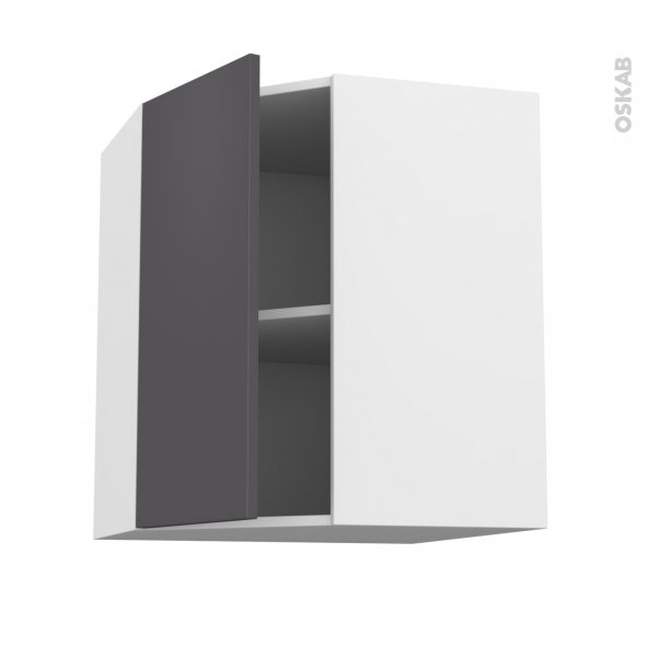 Meuble de cuisine - Angle haut - GINKO Gris - 1 porte N°19 L40 cm - L65 x H70 x P37 cm