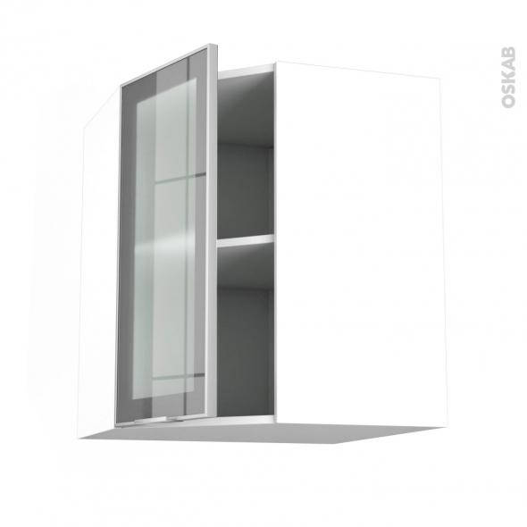 Meuble de cuisine - Angle haut vitré - Façade alu - 1 porte N°19 L40 cm - L65 x H70 x P37 cm - SOKLEO