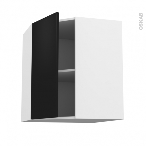 Meuble de cuisine - Angle haut - GINKO Noir - 1 porte N°19 L40 cm - L65 x H70 x P37 cm