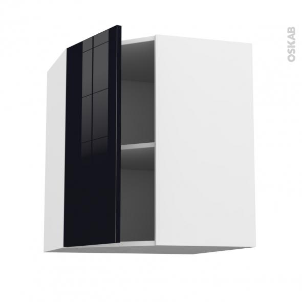 KERIA Noir - Meuble angle haut  - 1 porte N°19 L40 - L65xH70xP37