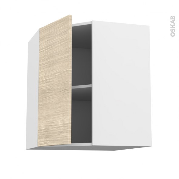 Meuble de cuisine - Angle haut - STILO Noyer Blanchi - 1 porte N°19 L40 cm - L65 x H70 x P37 cm