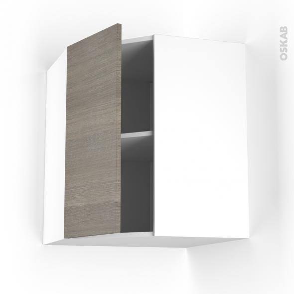 Meuble de cuisine - Angle haut - STILO Noyer Naturel - 1 porte N°19 L40 cm - L65 x H70 x P37 cm