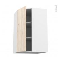 Meuble de cuisine - Angle haut - IKORO Chêne clair - 1 porte N°23 L40 cm - L65 x H92 x P37 cm