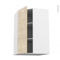 Meuble de cuisine - Angle haut - STILO Noyer Blanchi - 1 porte N°23 L40 cm - L65 x H92 x P37 cm