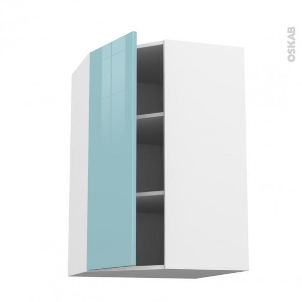 Meuble de cuisine - Angle haut - KERIA Bleu - 1 porte N°23 L40 cm - L65 x H92 x P37 cm