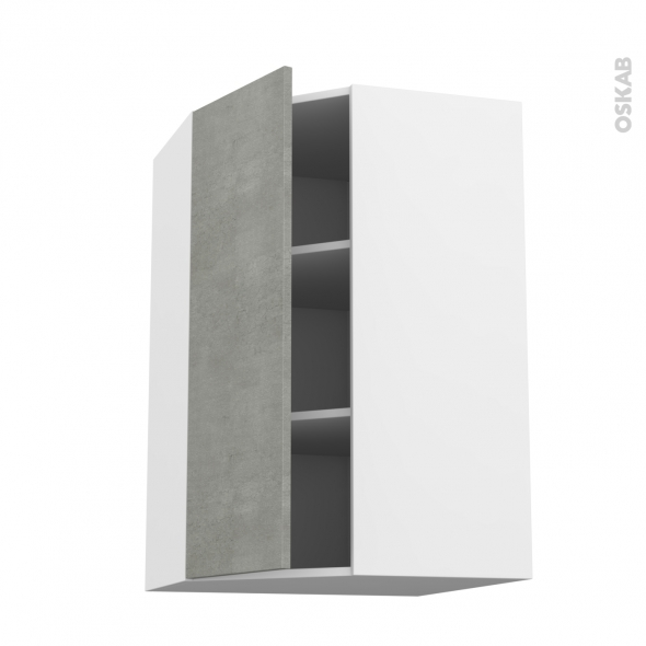 Meuble de cuisine - Angle haut - FAKTO Béton - 1 porte N°23 L40 cm - L65 x H92 x P37 cm