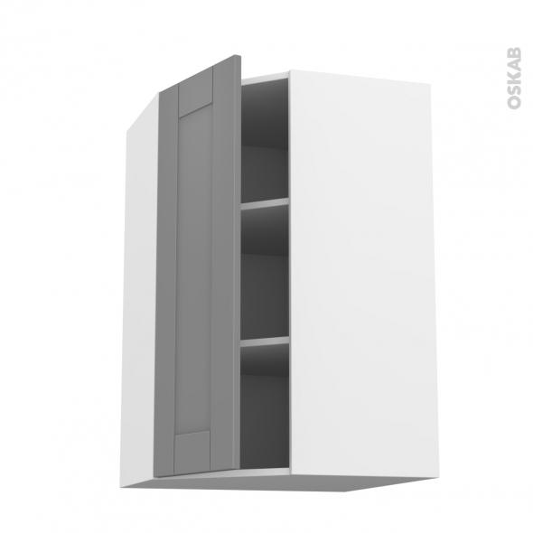 Meuble de cuisine - Angle haut - FILIPEN Gris - 1 porte N°23 L40 cm - L65 x H92 x P37 cm