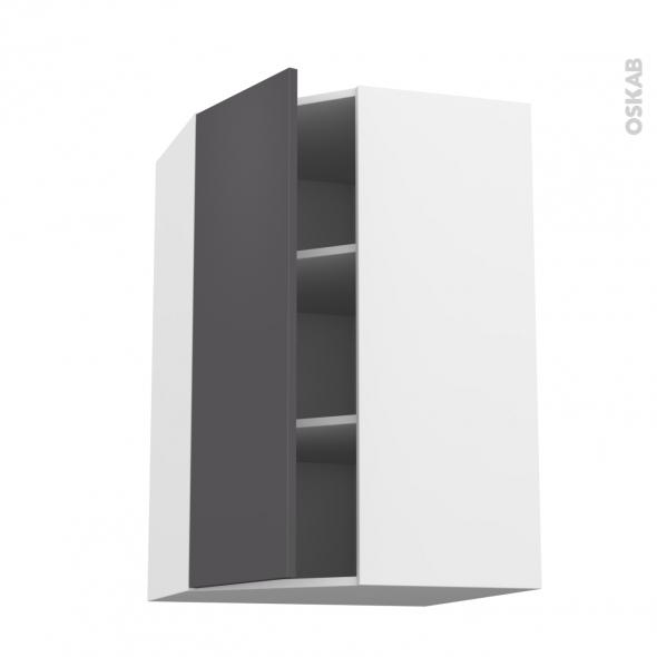 Meuble de cuisine - Angle haut - GINKO Gris - 1 porte N°23 L40 cm - L65 x H92 x P37 cm