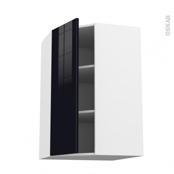 Meuble de cuisine - Angle haut - KERIA Noir - 1 porte N°23 L40 cm - L65 x H92 x P37 cm