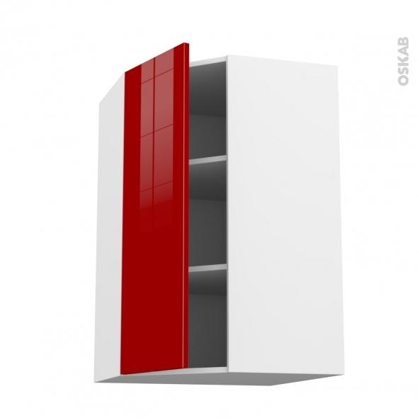 Meuble de cuisine - Angle haut - STECIA Rouge - 1 porte N°23 L40 cm - L65 x H92 x P37 cm