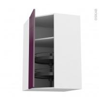 Meuble de cuisine - Angle haut - KERIA Aubergine - Tourniquet 1 porte N°23 L40 cm - L65 x H92 x P37 cm